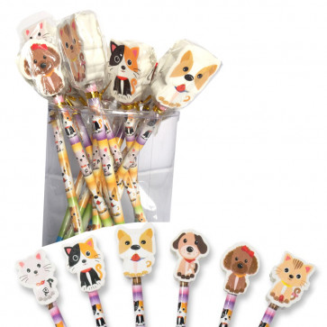 Low Cost Gifts | Cute Pets Pencils with Topper Erasers - Bulk Stationery Pack