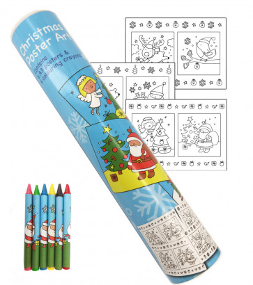 Kids Posters | Christmas Colouring Poster Art Tube Set