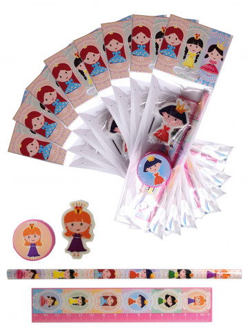 Gifts for Kids | 12 x Princess Stationery Set. Low Cost Class Gift / Party Bag Filler