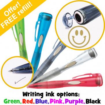 Teacher Stamps   Gold Ink Smiley Face, Artline Pen with Integrated Stamp