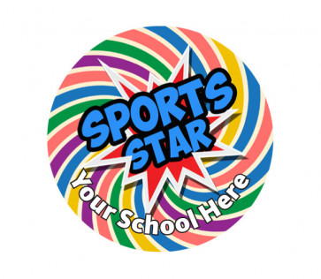Personalised School Stickers | Rainbow Spiral Sports Star! Design Custom Standard and Scented Stickers
