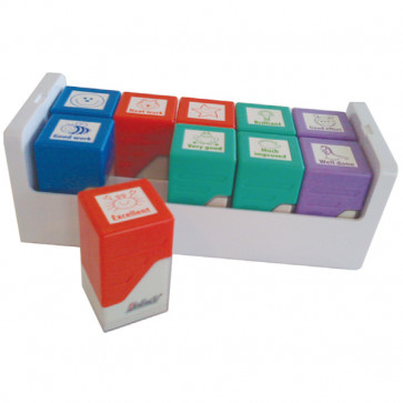 Teacher Stamps | 10 Self-inking Stamper Tray Set
