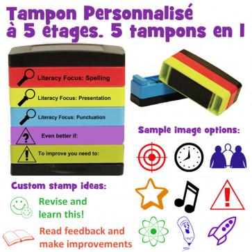 Tampons encreurs pour l'école  | Tampon Encreur Personnalisé pour les Enseignants – Tampon à 5 étages. 5 tampons en 1