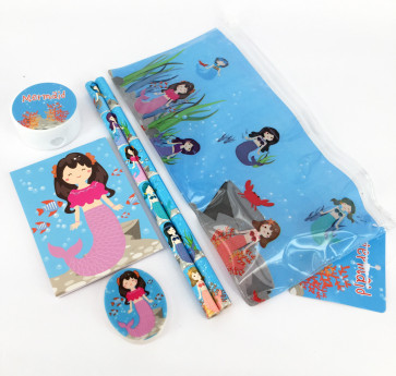 Class Gifts / Party Bags | Mystical Mermaids Stationery Filled Pencil Case - Memaid Eraser, Notepad, Pencil, Ruler and Pencil Case