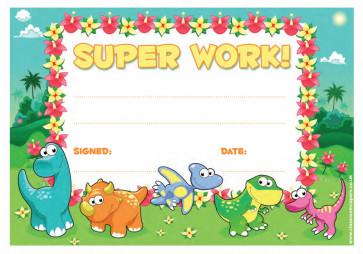 School Certificates | Super Work message, dinosaur design kids awards