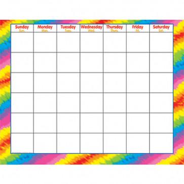 Large Wall Calendar | Tye Dye Rainbow Design Wipe-Off Surfaces