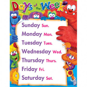 School poster | Furry Friends Days of the Week for the Classroom