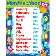 school posters owl stars months of the year learning chart free