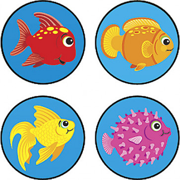 Teacher Reward Stickers | Fun Fish - Mini Size Stickers for Children