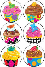 Children's reward stickers | Mini Cup Cake Designs - Variety Pack