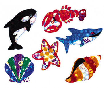 Kids Stickers | 72 Deep Sea Fish, Shell and Shark Glitter Stickers