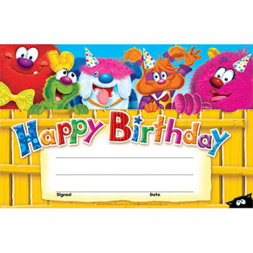 School Certificates | Furry Friends, Cute Monsters Happy Birthday Awards