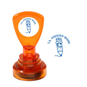 Teacher Self-Inking Stamper | TA Assisted Work, Smiley Pencil Design - Great for Teacher Marking