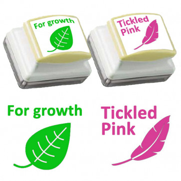 Teachers Stamps | Tickled Pink and For Growth Self-inking Stamp - Pink and Green  Ink