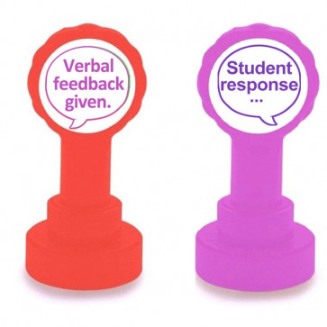 Teacher Stamps | Verbal feedback given and Student response - 2 stamper set. Both purple ink