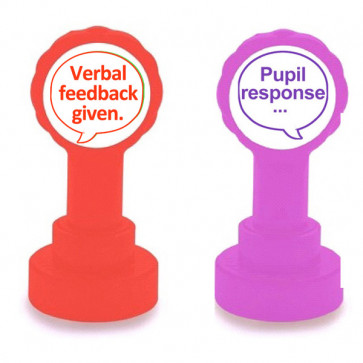 Teacher Stamps | Verbal feedback given (red ink) and Pupil response - 2 stamper set.