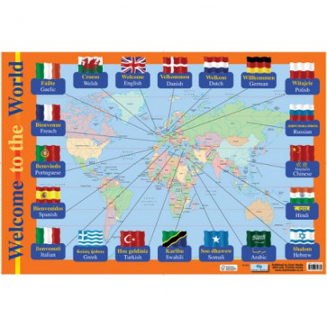 School Educational Posters | Welcome Languages World Map Chart Poster