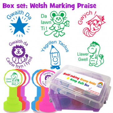 Teacher Stamps | 6 Welsh Praise Teacher Stamps and Stamper Box Set