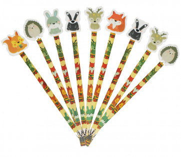 Pupil Gifts | Woodland Friends Pencils & Toppers - Large Eraser Ends