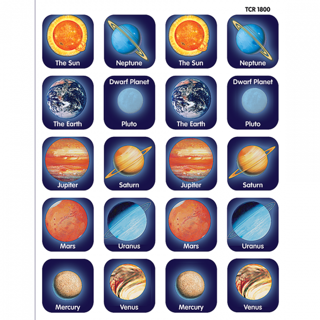 10 Designs. 120 Planet Identifier Space Stickers