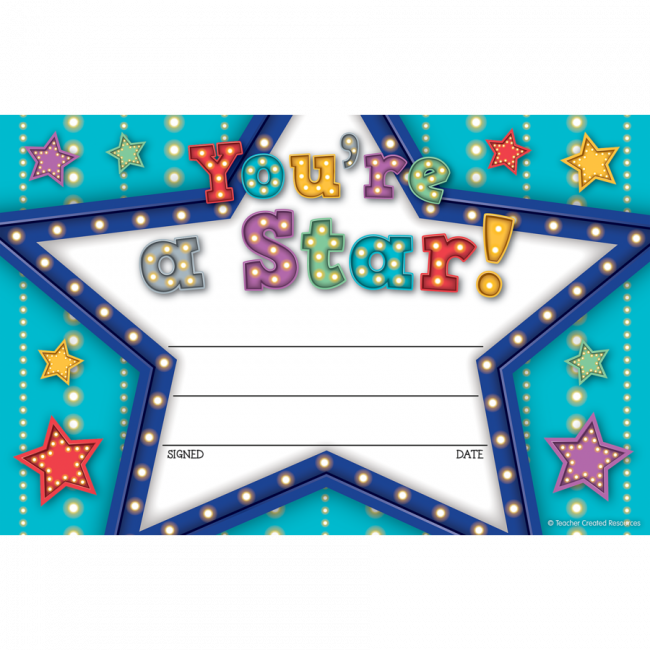 kids certificates marquee youre a star school certificates