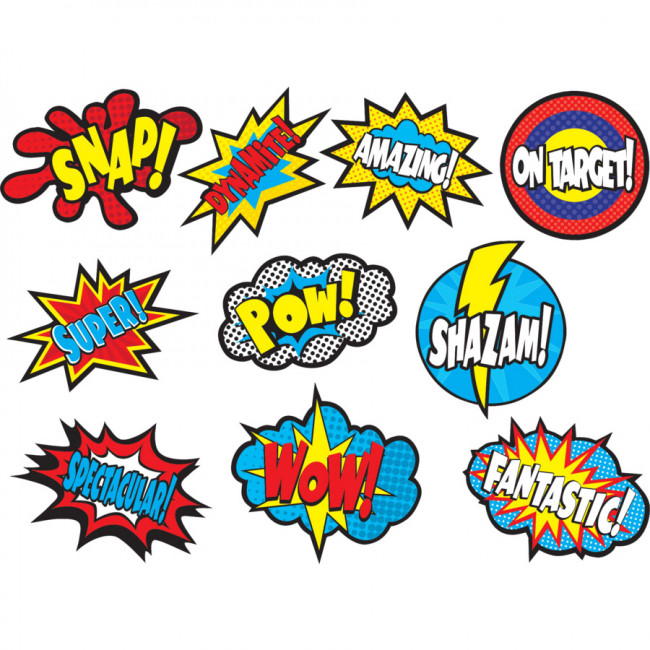 Classroom Display 30 Superhero Sayings Cut Out Cards