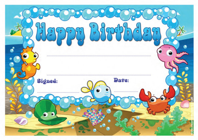 School Certificate Happy Birthday Cute Under The Sea
