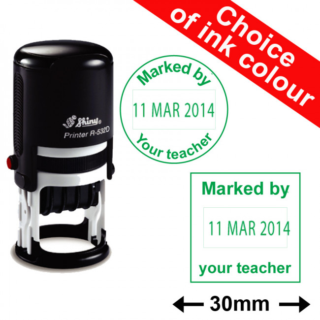 Marked By Your Teacher Date Stamp 30mm Round Or Square