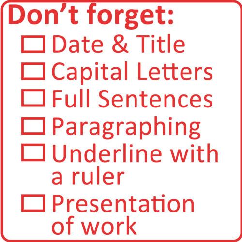 School Stamp Literacy Marking Checklist Stamp 5x5cm