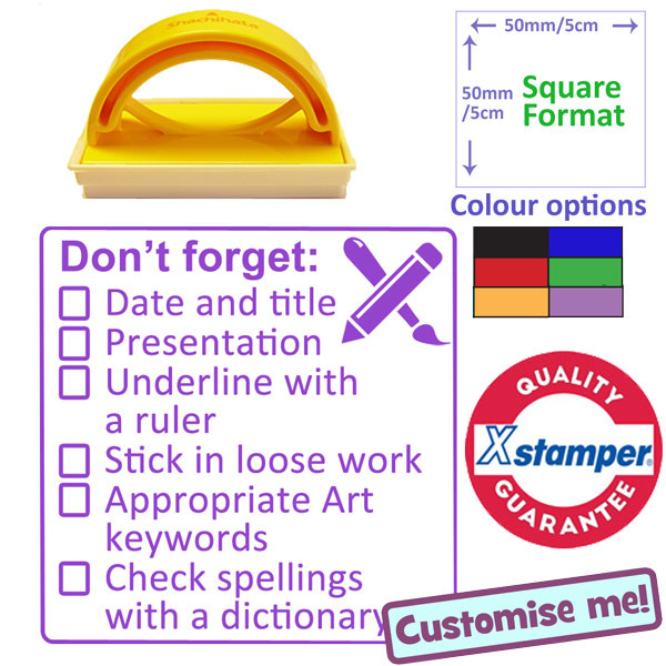 School Stamp Art Marking 6 Point Checklist 5x5cm Free