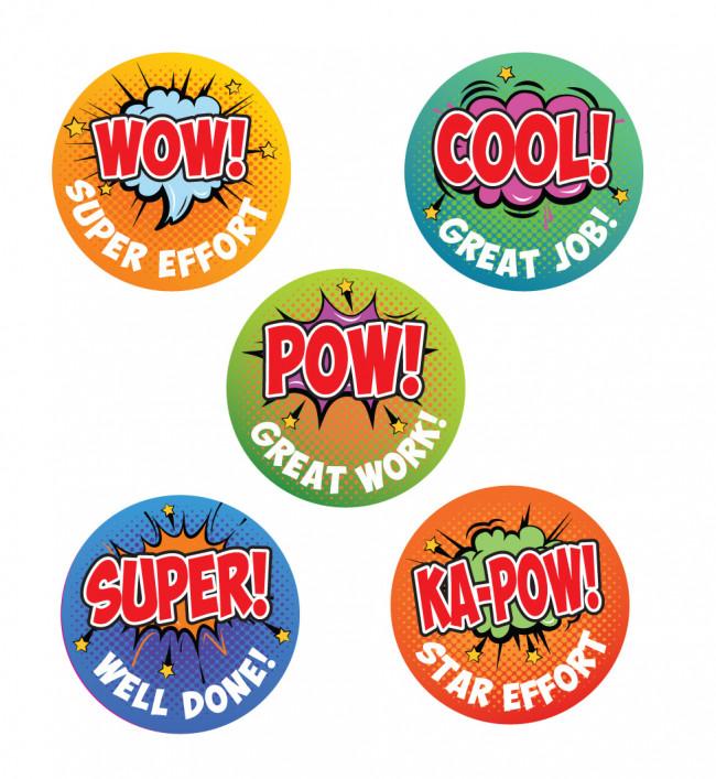Reward Stickers | WOW!, Retro Comic Pop Art Reward Stickers
