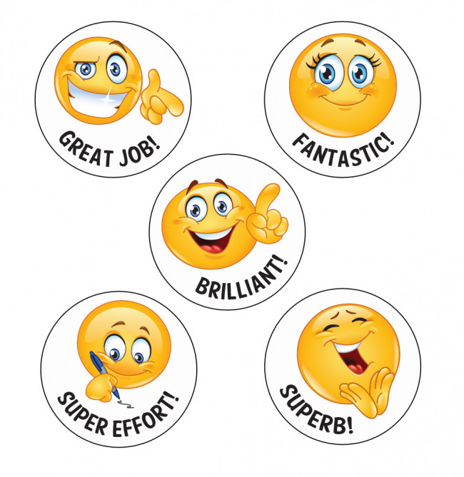 Fantastic Emoji School Stickers on Blank English Sheets