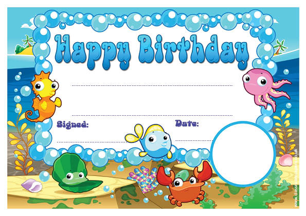 Personalised certificates awards for schools under the sea happy birthday certificate school logo