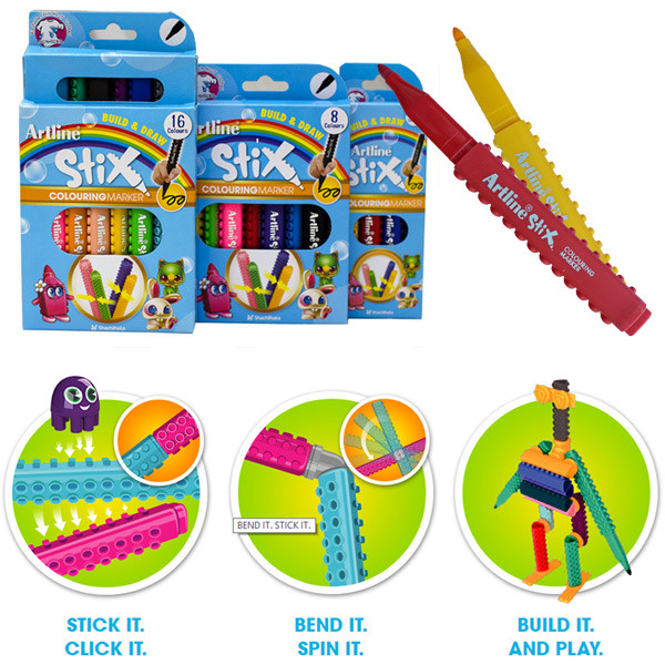 Art Line Uae : Artline pens build draw stix colouring markers pack