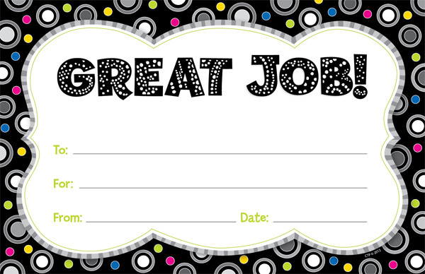 School Certificates | Great Job! Praise Message Awards. Free Delivery