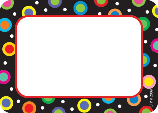 Name Label Badges Stickers Dots On Black Design Badges