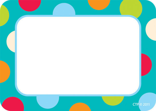 Name Label Badges / Stickers | Dots on Turquoise Design ...