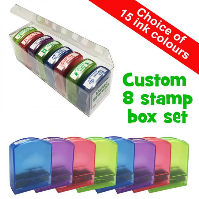 Custom Teacher Stamp Box Set 8 Custom Value Stamps