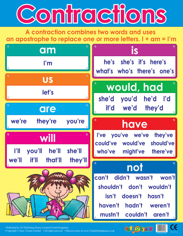 Children S Calendar Wall Chart : School posters contractions literacy wall charts for the