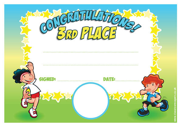 Personalised Certificates For Schools 3rd Place Sports