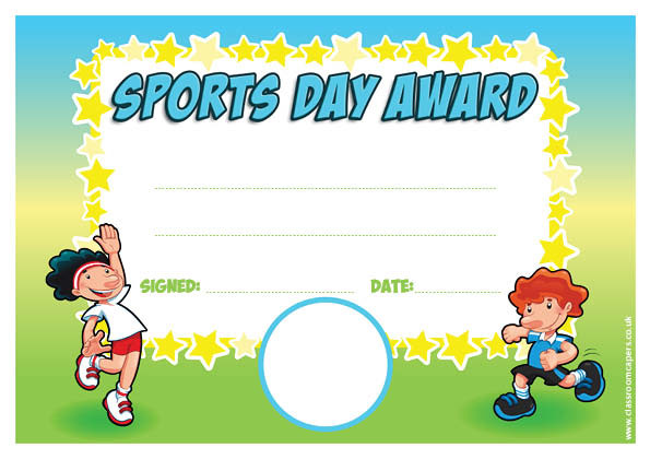 Personalised certificates awards for schools sports day general participation place award school