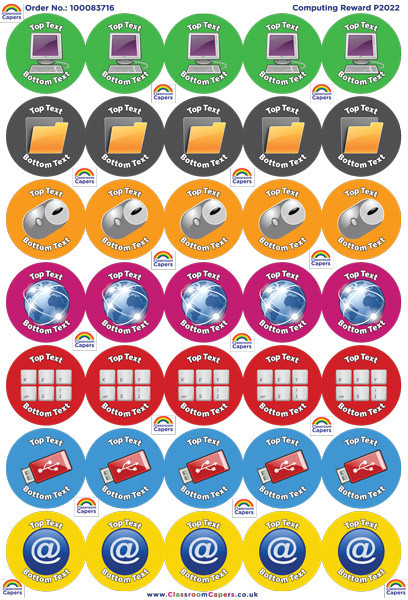 Personalised stickers computing reward school stickers a4 sheet
