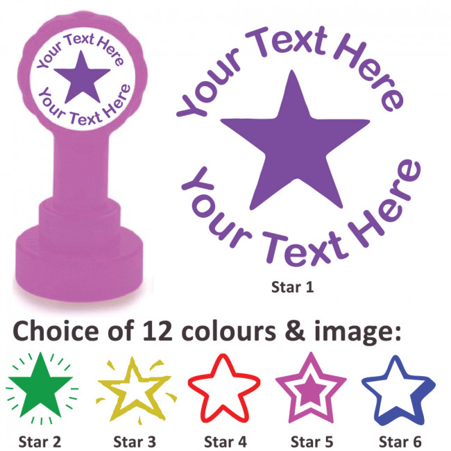 Custom stamps star stamp personalised craft stamps and teacher stamps
