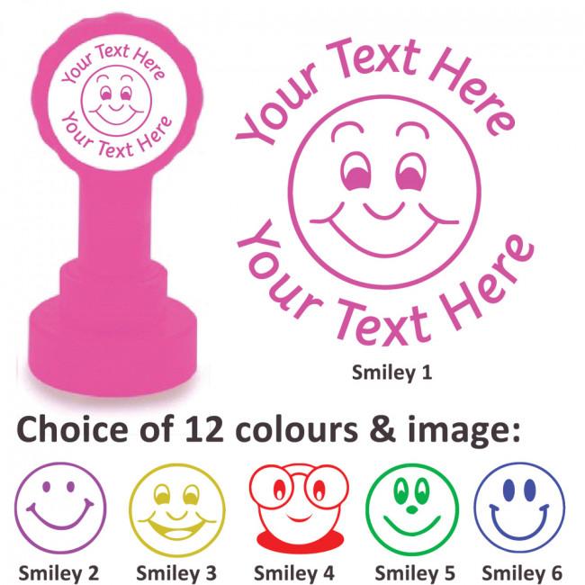 purple smiling star Personalised Teacher Stamp 22mm Pre-Inked Custom