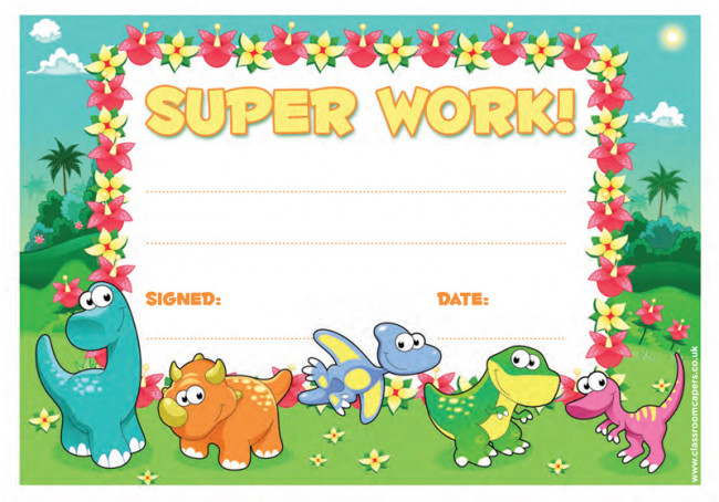 School Certificate | Super Work -30 Dinosaur Design Certificates for ...