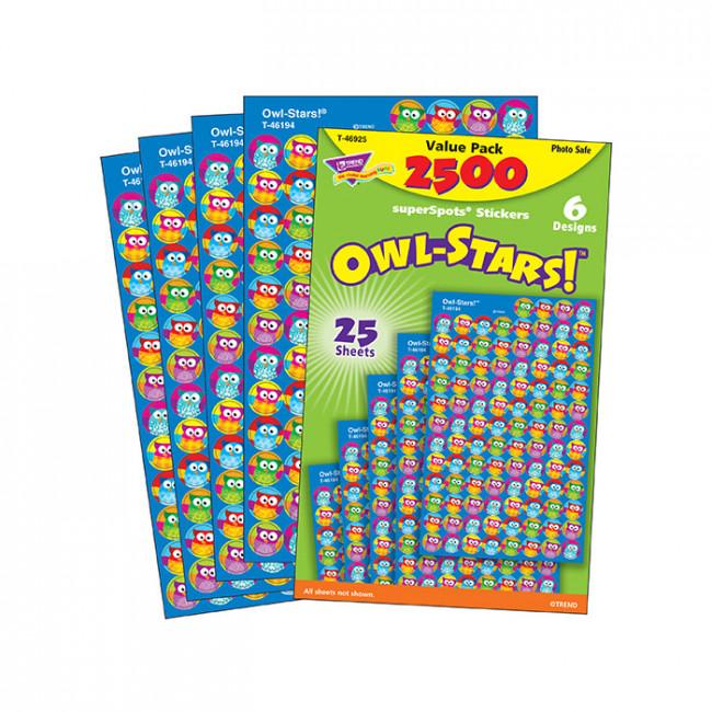 Kids stickers 2500 wise owl stars superspot mini stickers