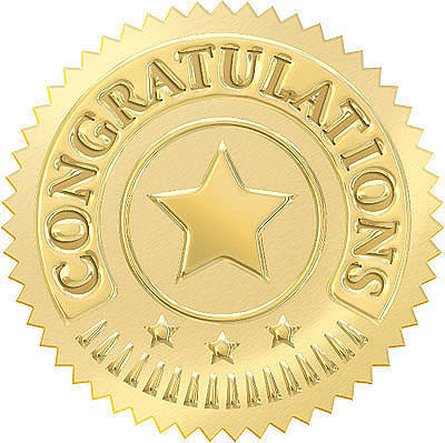Award Seals | Congratulations in Gold for Kids