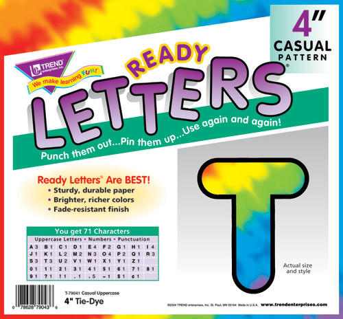 tie dye letters display letters and numbers multi colour tie dye 1313