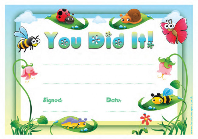kid certificate templates free printable - school certificates you did it 30 cute design