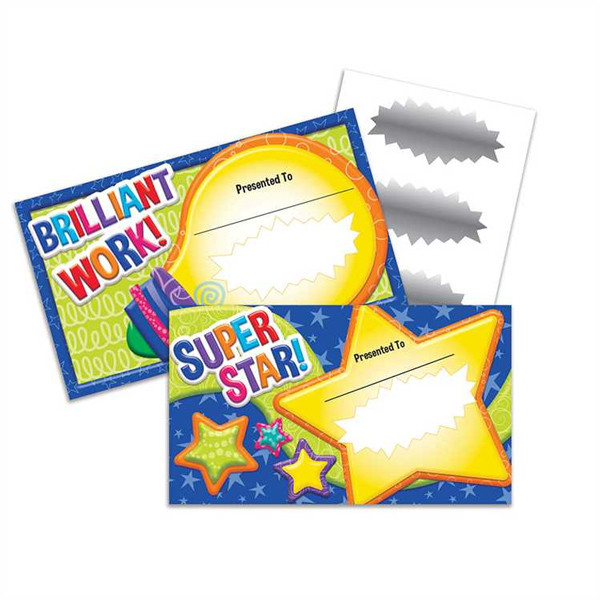School Certificates Super Star Brilliant Work Scratch Off